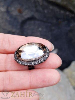 Огромен графитено-бронзов фасетиран кристал 3 на 2 см на регулиращ се сребрист пръстен - P1497