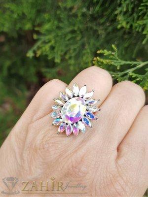Изящно кристално цвете от хамелеон фасетирани кристали на регулиращ се оксидиран пръстен - P1503