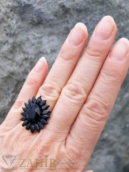 Дамски бижута - Красиво кристално цвете от черни фасетирани кристали на регулиращ се черен пръстен - P1504