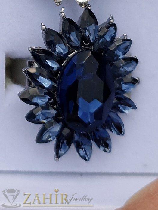 Дамски бижута - Изящно кристално цвете от тъмносини фасетирани кристали на регулиращ се черен пръстен - P1506