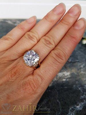 Огромен фасетиран циркон високо качество 1,3 см на стоманен пръстен със златно покритие - P1508