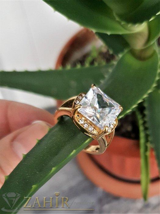 Дамски бижута - Огромен фасетиран циркон високо качество 1,3 см на стоманен пръстен със златно покритие - P1508