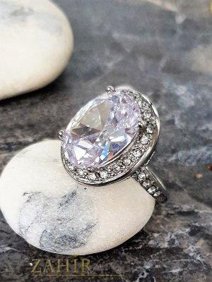 Висококачествен фасетиран голям циркон 1,5 см на стоманен пръстен, изящна изработка - P1509