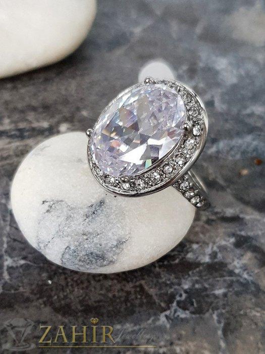 Дамски бижута - Висококачествен фасетиран голям циркон 1,5 см на стоманен пръстен, изящна изработка - P1509