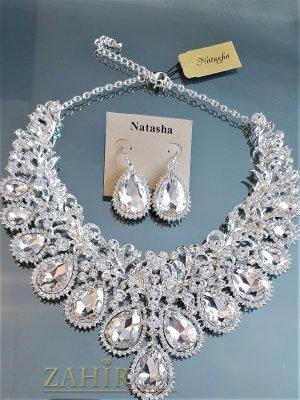 Дизайнерски луксозен комплект с прозрачнобели кристали, обеци 5 см и регулиращо се колие, виси 9 см - P1512