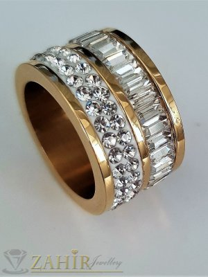 Супер модел кристална халка широка 2 см с уникални бели кристали , стомана със златно покритие - P1516