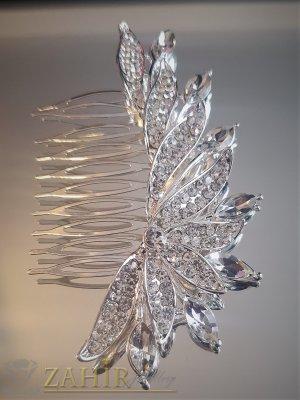 Красив кристален гребен 10 см с блестящи бели циркони, сребрист - ST1097