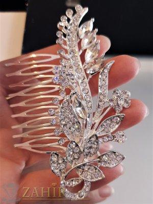 Изящен кристален гребен цвете 10 см с блестящи бели циркони, сребрист - ST1098