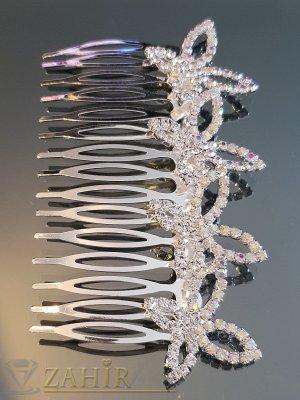 Нежен кристален гребен с пеперуди 10 см с блестящи бели циркони, сребрист - ST1099