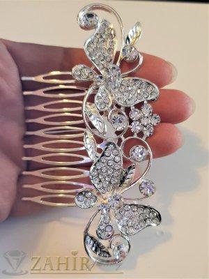 Луксозен кристален гребен с пеперуди 10 см с блестящи бели циркони, сребрист - ST1100