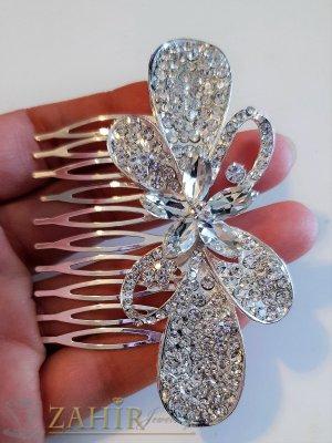 Впечатляващ кристален гребен с панделка 10 см с блестящи бели циркони, сребрист - ST1101