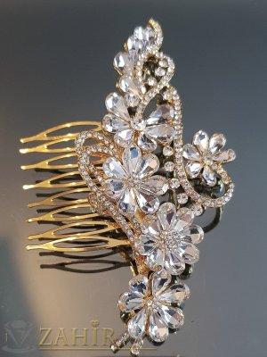 Дизайнерски луксозен кристален гребен цвете 11 см с бели цветя, златист - ST1102