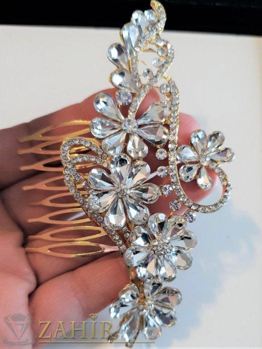 Аксесоари за коса - Дизайнерски луксозен кристален гребен цвете 11 см с бели цветя, златист - ST1102