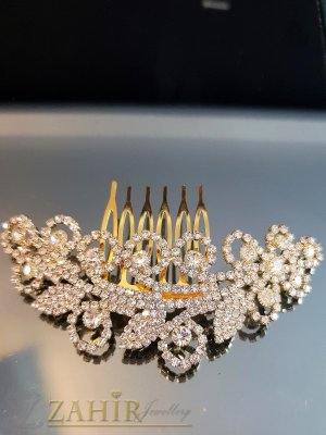 Великолепие от преливащи кристали на луксозен гребен 10 см, златист - ST1106