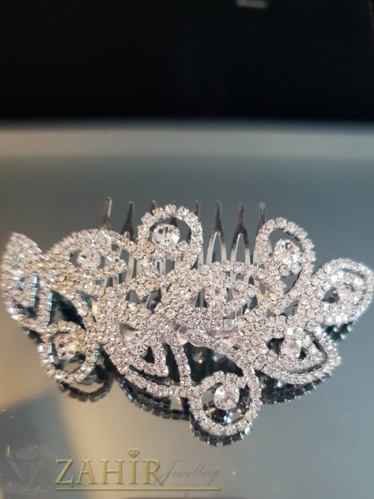 Аксесоари за коса - Изключителен кристален гребен 10 см с прекрасни белгийски кристали, сребрист - ST1107