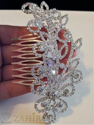 Супер стилен кристален гребен 11 см, блестящ аксесоар за прическа, сребрист - ST1109