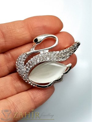 Бял седефен кристален лебед брошка, изящна изработка, сребрист, размери 4 на 3 см - B1221