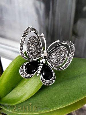Прекрасна графитена пеперуда брошка с черни и сиви фасетни кристали , изящна изработка, размери 5 на 4 см - B1228