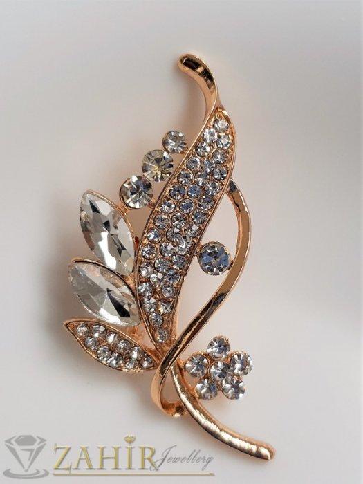 Дамски бижута - Блестящи бели кристали на изящно изработена златиста брошка цвете с листенца, размери 7 на 2 см, класически модел - B1232