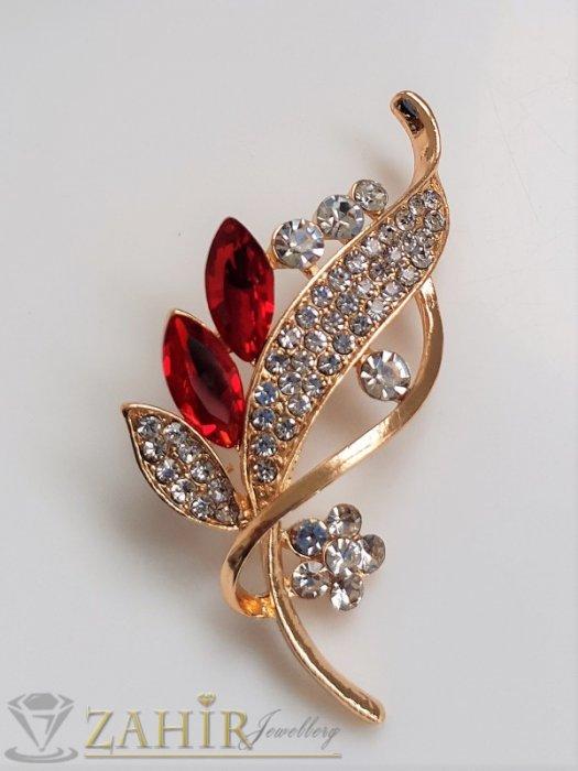Дамски бижута - Червени и бели кристали на изящно изработена златиста брошка цвете с листенца, размери 7 на 2 см, класически модел - B1234