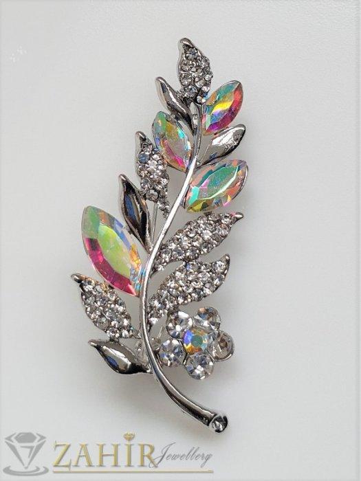 Дамски бижута - Хамелеон и бели кристали с топ дизайн и качество на стоманена брошка цвете с листенца с размери 5.5 на 2 см - B1236