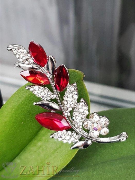 Вишневи и бели кристали с топ дизайн и качество на стоманена брошка цвете с листенца с размери 5.5 на 2 см - B1238