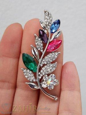 Разноцветни и бели кристали с топ дизайн и качество на стоманена брошка цвете с листенца с размери 5.5 на 2 см - B1239