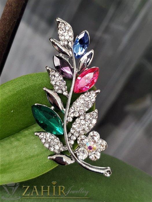 Дамски бижута - Разноцветни и бели кристали с топ дизайн и качество на стоманена брошка цвете с листенца с размери 5.5 на 2 см - B1239