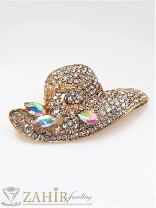 Кристална златиста шапка брошка с размери 5 на 2,5 см с нежни бели кристалчета и 3 големи хамелеон - B1243