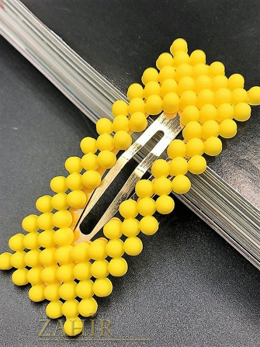 Жълта модна голяма фиба тик-так 7, 5 на 2,5 см с висококачествени акрилни мъниста в матов цвят - FI1240
