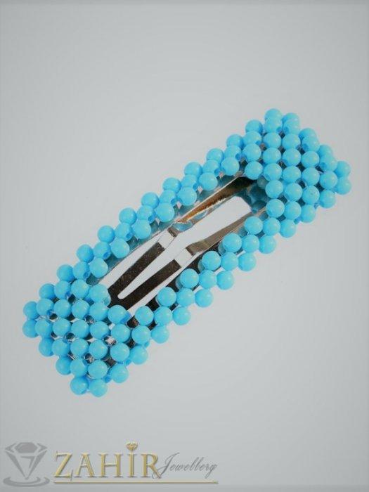 Аксесоари за коса - Светлосиня модна голяма фиба тик-так 7, 5 на 2,5 см с висококачествени акрилни мъниста в матов цвят - FI1241
