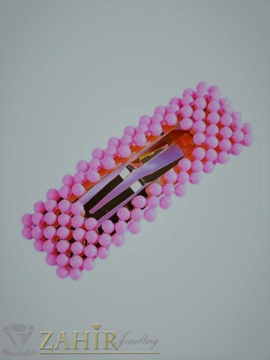 Бонбонено-розова модна голяма фиба тик-так 7, 5 на 2,5 см с висококачествени акрилни мъниста в матов цвят - FI1242