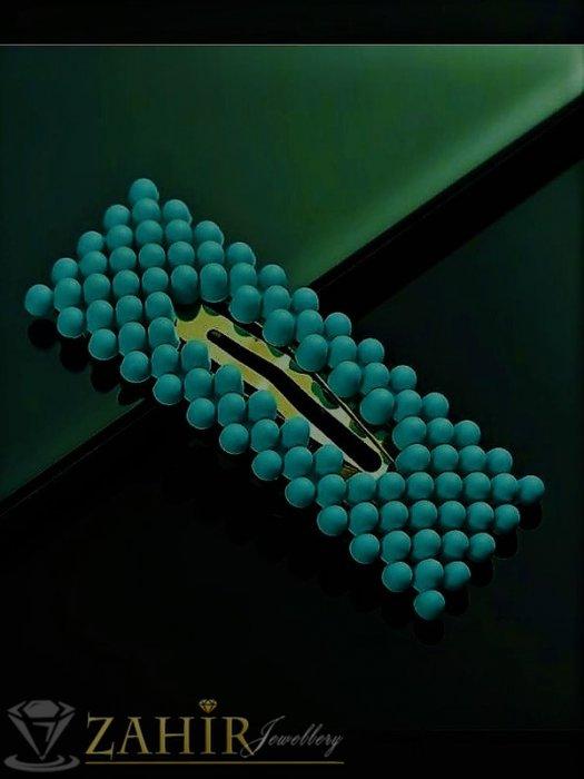 Аксесоари за коса - Петролено- зелена модна голяма фиба тик-так 7, 5 на 2,5 см с висококачествени акрилни мъниста в матов цвят - FI1245