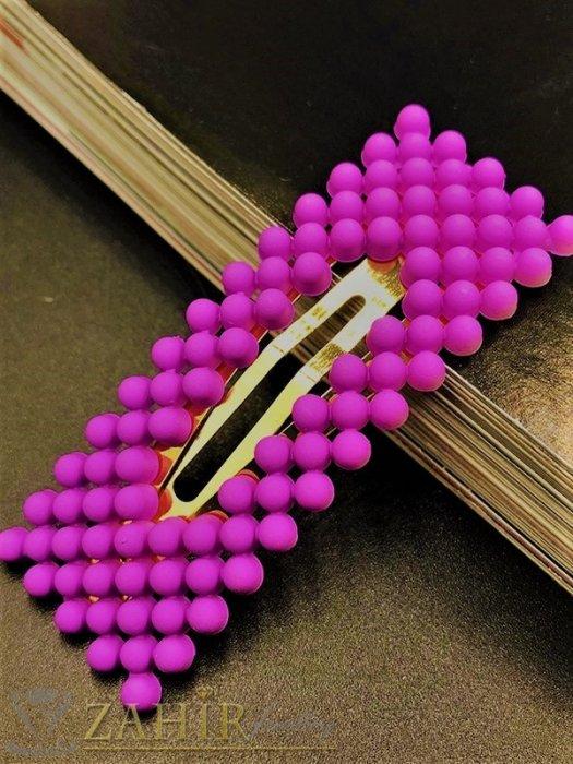 Аксесоари за коса - Цикламена модна голяма фиба тик-так 7, 5 на 2,5 см с висококачествени акрилни мъниста в матов цвят - FI1247