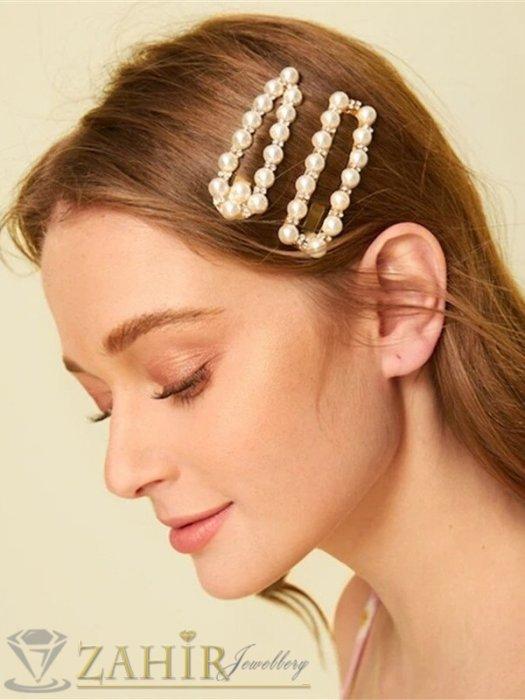 Сет от 2 актуални перлени фиби по 7,5 см с бели кристалчета, златиста основа - FI1249