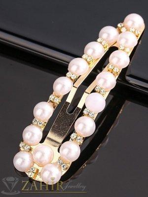Супер хит перлена фиба класически дизайн с бели кристалчета, размери 7,5 на 2,2 см, златиста основа - FI1250