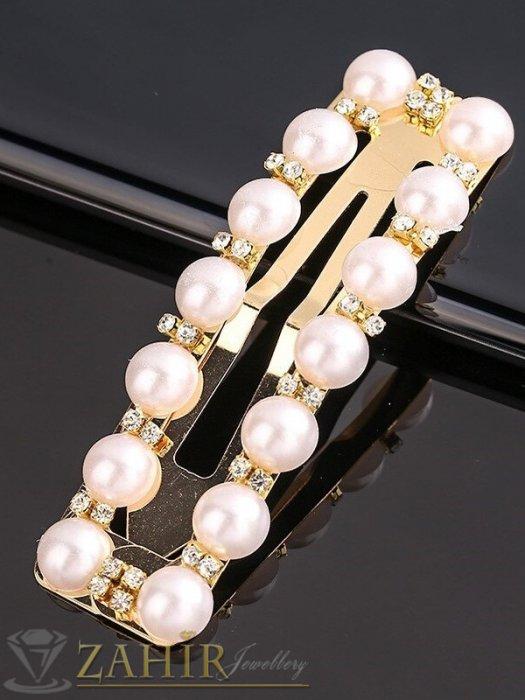 Супер хит перлена фиба класически дизайн с бели кристалчета, размери 7,5 на 2,2 см, златиста основа - FI1251