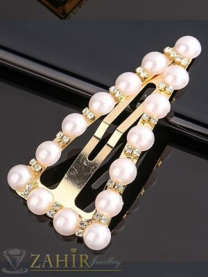 Супер хит перлена фиба триъгълен дизайн с бели кристалчета, размери 6,5 на3,5 см, златиста основа - FI1254
