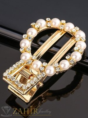 Високо качество шнола тип щъркел с модни перлени и бели кристали, метална златиста основа, размери 5 на 3 см - FI1255