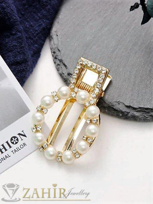 Аксесоари за коса - Високо качество шнола тип щъркел с модни перлени и бели кристали, метална златиста основа, размери 5 на 3 см - FI1255