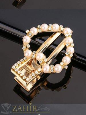 Сърце-Високо качество шнола тип щъркел с модни перлени и бели кристали, метална златиста основа, размери 5 на 3,5 см - FI1256