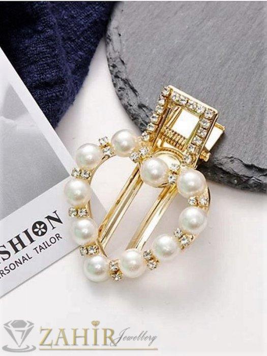 Аксесоари за коса - Сърце-Високо качество шнола тип щъркел с модни перлени и бели кристали, метална златиста основа, размери 5 на 3,5 см - FI1256