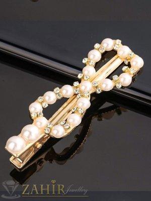 Пандела -Високо качество шнола тип щъркел с модни перлени и бели кристали, метална златиста основа, размери 7 на 2,2 см - FI1257