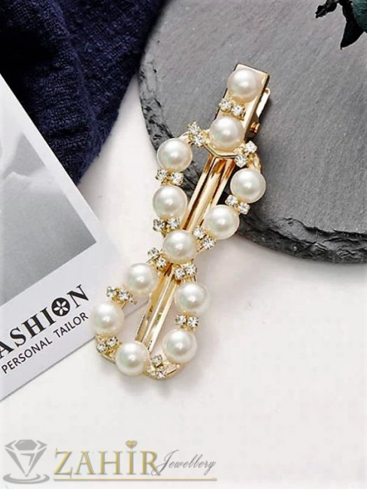 Аксесоари за коса - Пандела -Високо качество шнола тип щъркел с модни перлени и бели кристали, метална златиста основа, размери 7 на 2,2 см - FI1257