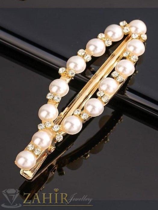 Класик-Високо качество шнола тип щъркел с модни перлени и бели кристали, метална златиста основа, размери 7 на 2,2 см - FI1258