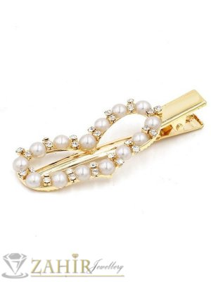 Сърце-Високо качество шнола тип щъркел с модни перлени и бели кристали, метална златиста основа, размери 7 на 2,2 см - FI1259