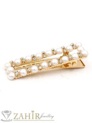 Класик-Високо качество шнола тип щъркел с модни перлени и бели кристали, метална златиста основа, размери 6 на 1,7 см - FI1260