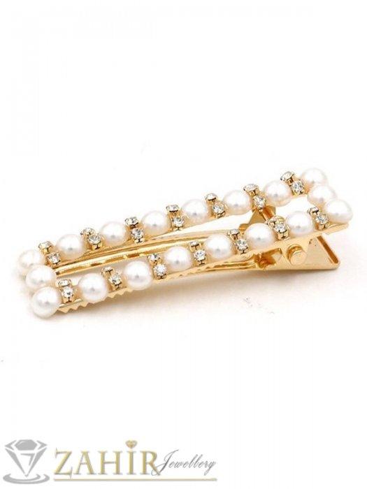 Аксесоари за коса - Класик-Високо качество шнола тип щъркел с модни перлени и бели кристали, метална златиста основа, размери 6 на 1,7 см - FI1260