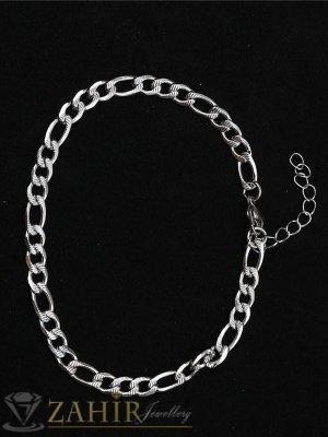 Класическа гривна от най-висок клас стомана, фигаро плетка, нежни гравирани звена,  дължина 17+5 см, широка 0,4 см - G2072