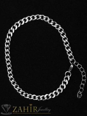 Нежна гривна от най-висок клас стомана, класическа плетка, нежни заоблени звена, дължина 17+5 см, широка 0,4 см - G2073
